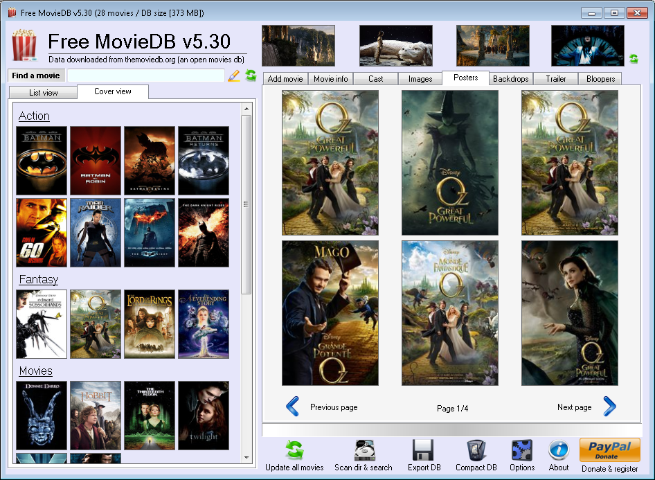 Free MovieDB | Movie database software | My Portable Software